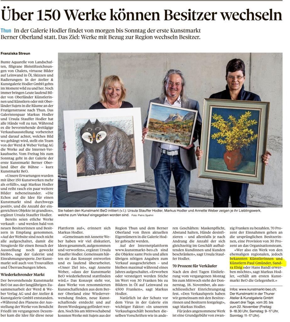 Teilnahme Kunstmarkt BEO November 2020